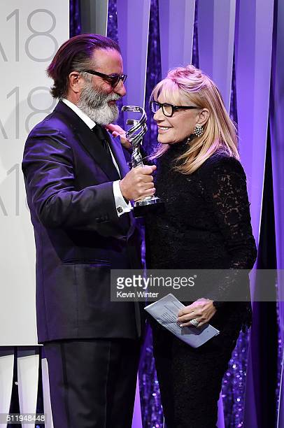 Actor Andy Garcia presents the Career Achievement Award to honoree Ellen Mirojnick onstage during the 18th Costume Designers Guild Awards with...