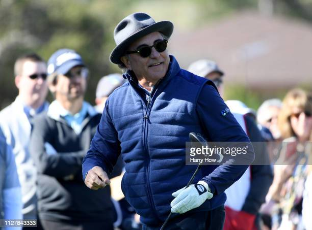Actor Andy Garcia reacts to his shot on the first tee during the 3M Celebrity Challenge at the ATT Pebble Beach ProAm on February 06 2019 in Pebble...