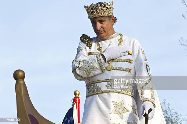 Actor Andy Garcia reigns as King of Bacchus in the 2011 Krewe Of Bacchus XLIII Parade on March 6 2011 in New Orleans Louisiana