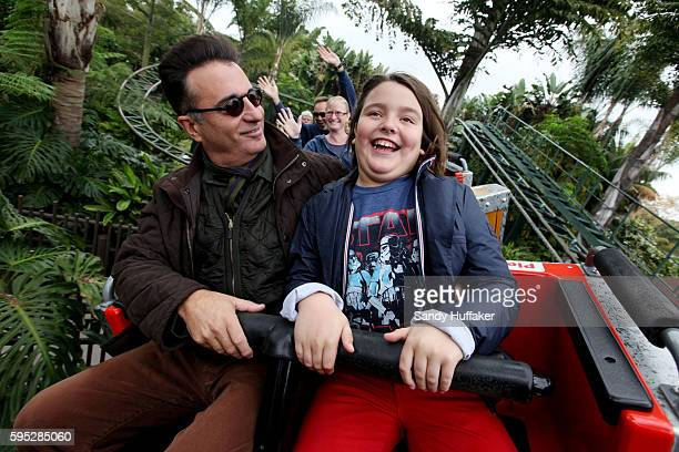 Actor Andy Garcia shares a moment with his son Andres while on a roller coaster at Legoland California on Friday November 18 2011 in Carlsbad...