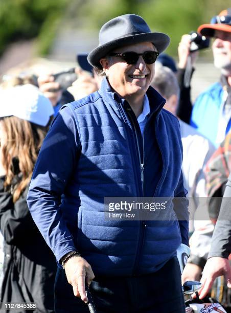 Actor Andy Garcia smiles on the first tee during the 3M Celebrity Challenge at the ATT Pebble Beach ProAm on February 06 2019 in Pebble Beach...