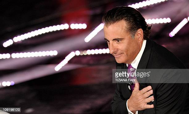US actor Andy Garcia speaks as he attends the 61th Italian Music Festival on the stage of the Ariston Theatre in San Remo on February 16 2011 AFP...