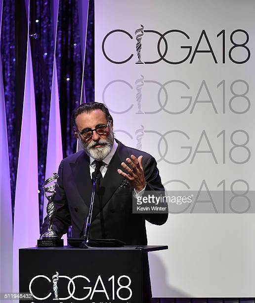 Actor Andy Garcia speaks onstage during the 18th Costume Designers Guild Awards with Presenting Sponsor LACOSTE at The Beverly Hilton Hotel on...