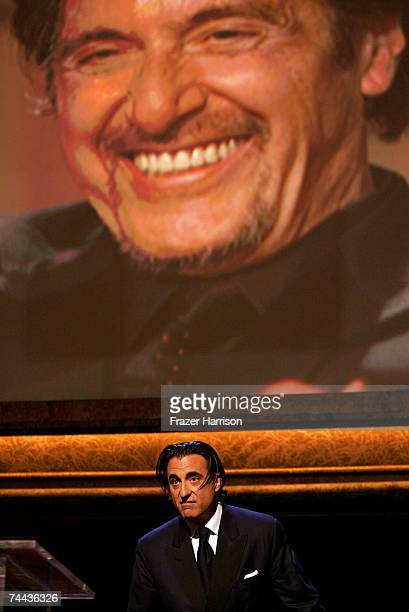 Actor Andy Garcia speaks onstage during the 35th AFI Life Achievement Award tribute to Al Pacino held at the Kodak Theatre on June 7 2007 in...