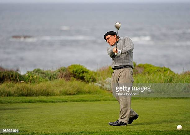 Actor Andy Garcia tees off on during the first round of the ATT Pebble Beach National ProAm at Monterey Peninsula Country Club on February 11 2010 in...