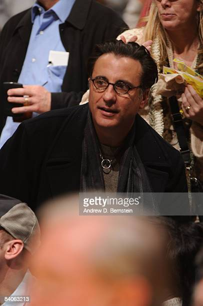 Actor Andy Garcia watches a game between the New York Knicks and the Los Angeles Lakers at Staples Center on December 16 2008 in Los Angeles...