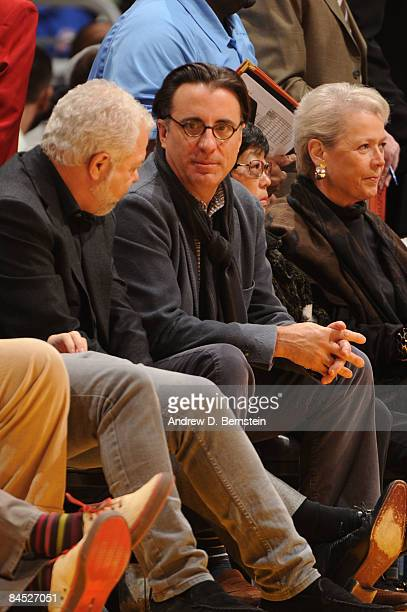 Actor Andy Garcia watches a game from courtside between the Charlotte Bobcats and the Los Angeles Lakers at Staples Center on January 27 2009 in Los...