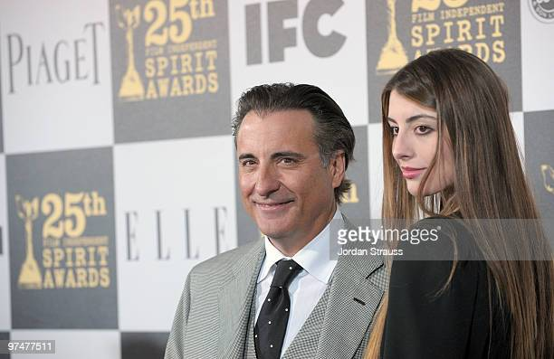Actor Andy Garcia wearing Piaget and actress Dominik GarciaLorido arrives at the 25th Film Independent Spirit Awards sponsored by Piaget held at...