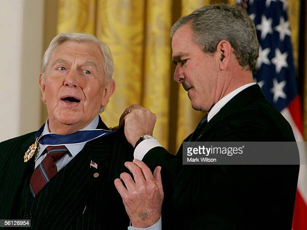 Actor Andy Griffith reacts while recieving the Medal of Freedom from US President George W Bush during a ceremony at the White House November 9 2005...