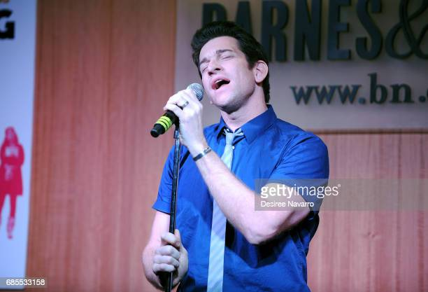 Actor Andy Karl performs during 'Groundhog Day The Musical' signing and performance event at Barnes Noble 86th Lexington on May 19 2017 in New York...