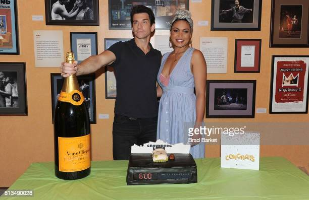 Actor Andy Karll and Barrett Doss attend Groundhog Day celebrates 100th performance on Broadway at August Wilson Theatre on July 12 2017 in New York...
