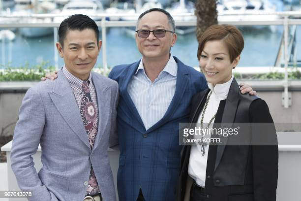 Actor Andy Lau director Johnnie To and actress Sammi Cheng attends the photocall for 'Blind Detective' during The 66th Annual Cannes Film Festival at...