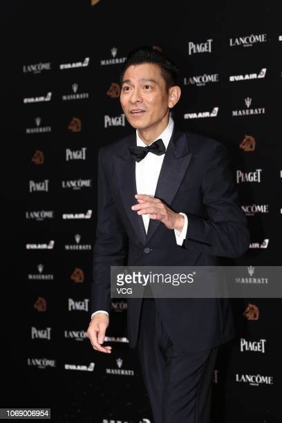 Actor Andy Lau Tewah poses on the red carpet of the 55th Golden Horse Film Awards Ceremony at the Sun Yatsen Memorial Hall on November 17 2018 in...