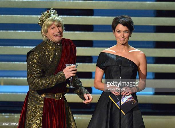 Actor Andy Samberg and actress Lena Headey speak onstage at the 66th Annual Primetime Emmy Awards held at Nokia Theatre LA Live on August 25 2014 in...