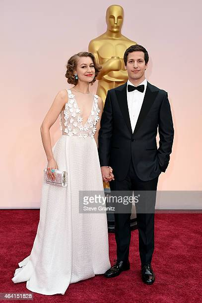 Actor Andy Samberg and Joanna Newsom attend the 87th Annual Academy Awards at Hollywood Highland Center on February 22 2015 in Hollywood California