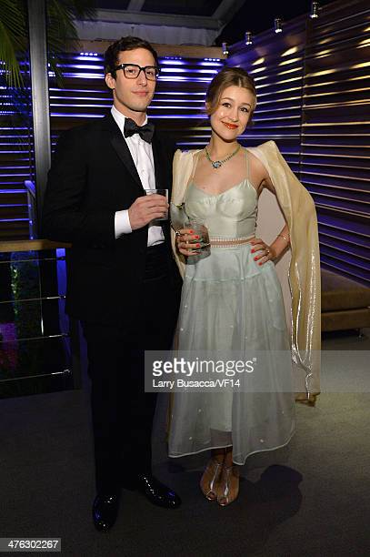 Actor Andy Samberg and musician Joanna Newsom attend the 2014 Vanity Fair Oscar Party Viewing Dinner Hosted By Graydon Carter on March 2 2014 in West...
