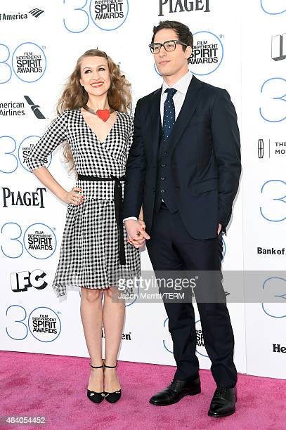 Actor Andy Samberg and recording artist Joanna Newsom attend the 2015 Film Independent Spirit Awards at Santa Monica Beach on February 21 2015 in...