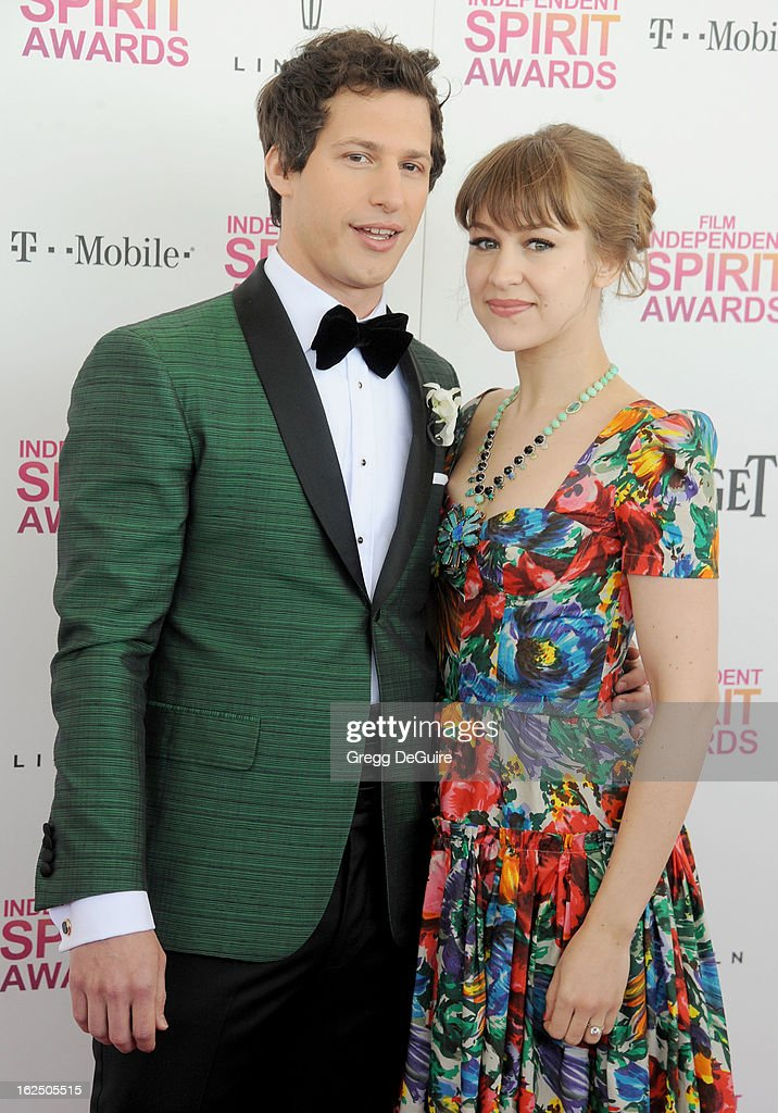 Actor Andy Samberg and singer Joanna Newsom arrive at the 2013 Film Independent Spirit Awards at Santa Monica Beach on February 23, 2013 in Santa Monica, California.
