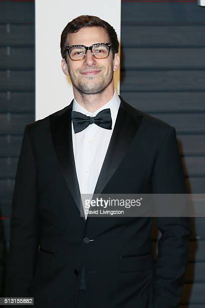 Actor Andy Samberg arrives at the 2016 Vanity Fair Oscar Party Hosted by Graydon Carter at the Wallis Annenberg Center for the Performing Arts on...