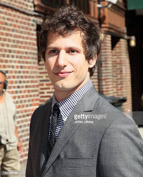"""Actor Andy Samberg arrives to """"Late Show with David Letterman"""" at Ed Sullivan Theater on August 13, 2012 in New York City."""