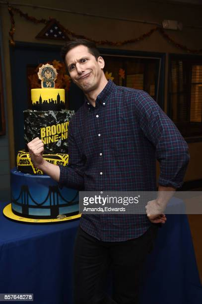 Actor Andy Samberg attends Fox's Brooklyn NineNine 99th Episode celebration at CBS Studio Center on October 4 2017 in Studio City California