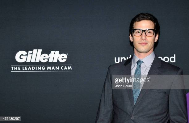 Actor Andy Samberg attends The Gillette Leading Man Cam at unite4humanity presented by unite4good and Variety and sponsored by Gillette on February...