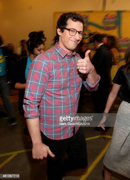 Actor Andy Samberg backstage at Nickelodeon's 27th Annual Kids' Choice Awards held at USC Galen Center on March 29 2014 in Los Angeles California