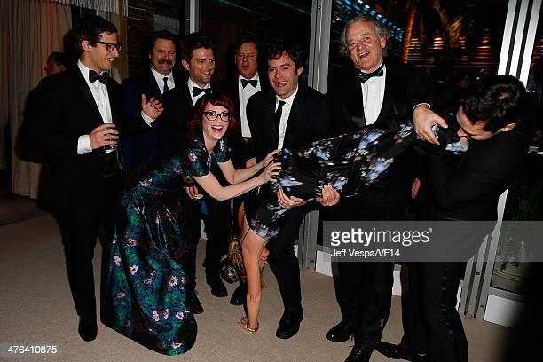 Actor Andy Samberg Nick Offerman Adam Scott Megan Mullally Brian Doyle Murray Bill Hader Amy Poehler Bill Murray and Paul Rudd attend the 2014 Vanity...