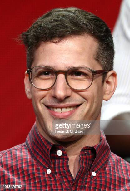 Actor Andy Samberg of the television show 'Brooklyn NineNine' speaks during the NBC segment of the Summer 2018 Television Critics Association Press...