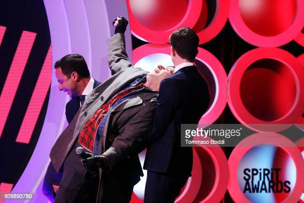 Actor Andy Samberg performs onstage with cohosts Nick Kroll and John Mulaney during the 2018 Film Independent Spirit Awards on March 3 2018 in Santa...