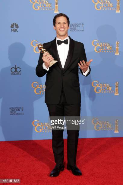 Actor Andy Samberg poses in the press room during the 71st Annual Golden Globe Awards held at The Beverly Hilton Hotel on January 12 2014 in Beverly...