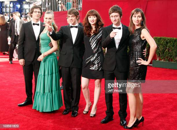 Actor Andy Samberg singer Joanna Newsom actors Jorma Taccone and Akiva Schaffer and guests arrive at the 61st Primetime Emmy Awards held at the Nokia...
