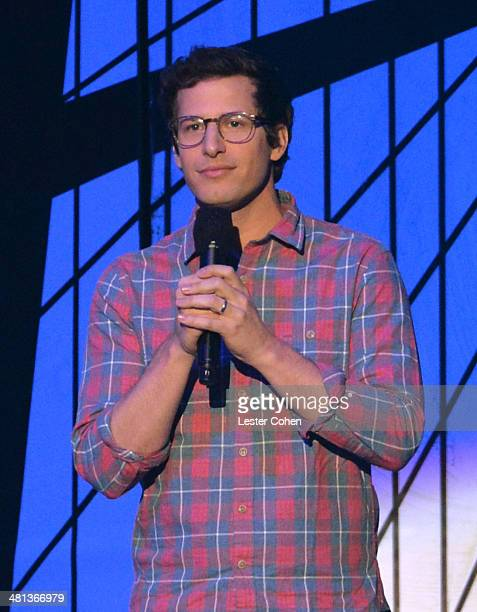 Actor Andy Samberg speaks onstage during Nickelodeon's 27th Annual Kids' Choice Awards held at USC Galen Center on March 29 2014 in Los Angeles...