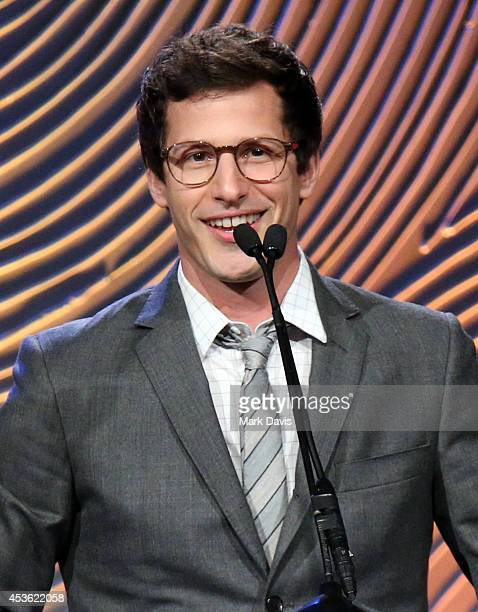 Actor Andy Samberg speaks onstage during the Hollywood Foreign Press Association's Grants Banquet at The Beverly Hilton Hotel on August 14 2014 in...