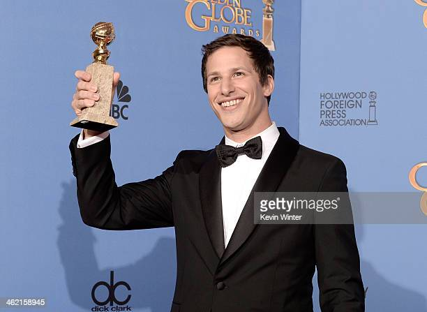 Actor Andy Samberg winner of Best Actor in a Television Series Musical or Comedy for 'Brooklyn NineNine' poses in the press room during the 71st...