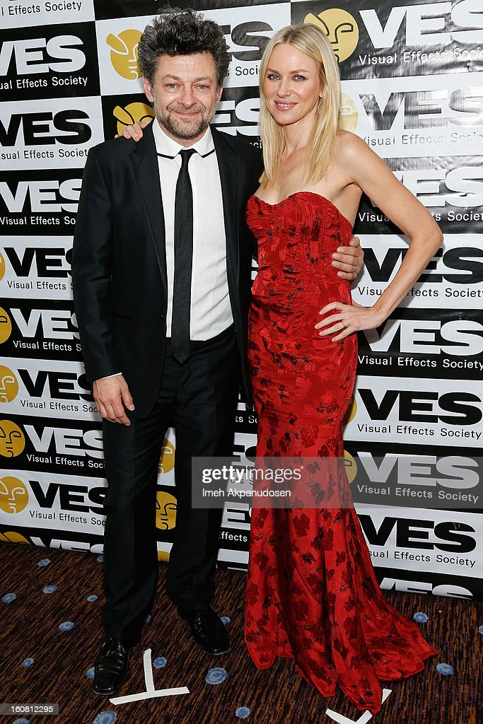 Actor Andy Serkis (L) and actress Naomi Watts pose backstage at the 11th Annual Visual Effects Society Awards at The Beverly Hilton Hotel on February 5, 2013 in Beverly Hills, California.