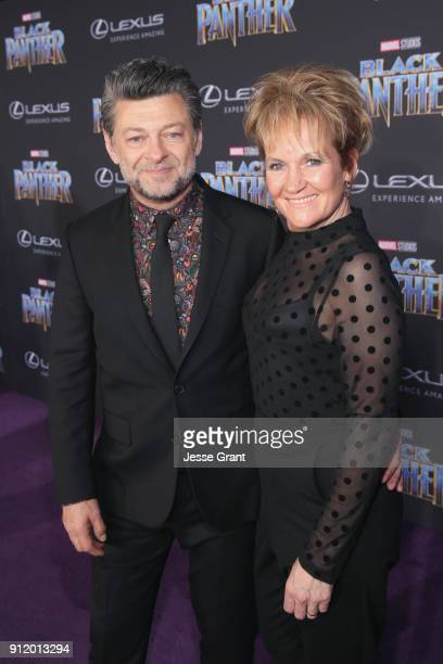 Actor Andy Serkis and Lorraine Ashbourne at the Los Angeles World Premiere of Marvel Studios' BLACK PANTHER at Dolby Theatre on January 29 2018 in...