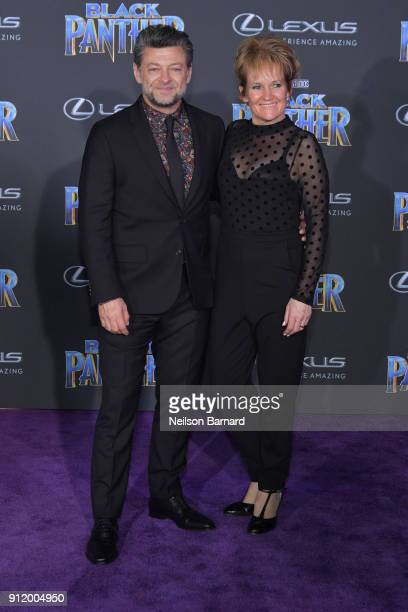 Actor Andy Serkis and Lorraine Ashbourne attend the premiere of Disney and Marvel's 'Black Panther' at Dolby Theatre on January 29 2018 in Hollywood...