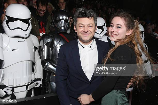 Actor Andy Serkis and Ruby Serkis pose with Stormtroopers at the Premiere of Walt Disney Pictures and Lucasfilm's Star Wars The Force Awakens on...
