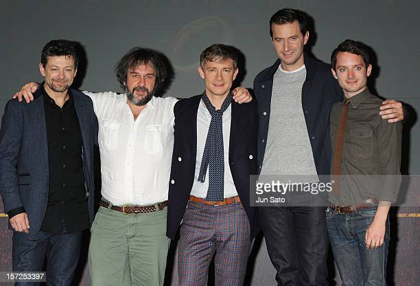 Actor Andy Serkis Director Peter Jackson Actors Martin Freeman Richard Armitage and Elijah Wood attend the 'The Hobbit An Unexpected Journey' press...