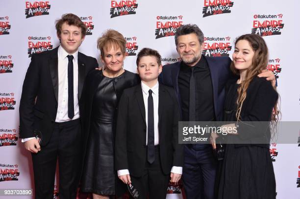 Actor Andy Serkis his wife Lorraine Ashbourne and their children Sonny Serkis Louis Serkis and Ruby Serkis attend the Rakuten TV EMPIRE Awards 2018...
