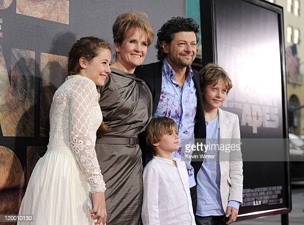 Actor Andy Serkis Lorraine Ashbourne pose with children Sonny Louis and Ruby arrive at the premiere of 20th Century Fox's Rise Of The Planet Of The...