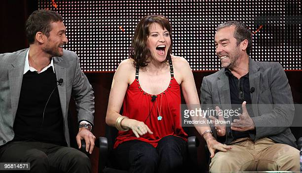 """Actor Andy Whitfield, actress Lucy Lawless and actor John Hannah of the television show """"Spartacus: Blood and Sand"""" speak during the Starz Network..."""