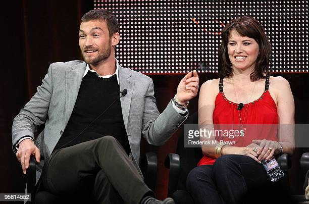 """Actor Andy Whitfield and actress Lucy Lawless of the television show """"Spartacus: Blood and Sand"""" speak during the Starz Network portion of The 2010..."""