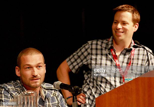 Actor Andy Whitfield and Hollywood Report's James Hibberd attend Starz Entertainment's 'Sparticus' Panel during ComicCon 2010 at San Diego Convention...