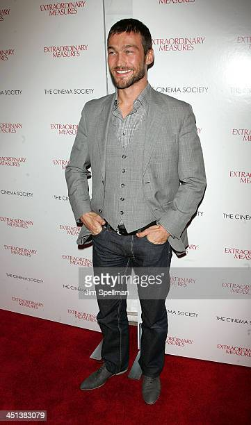 Actor Andy Whitfield attends the Cinema Society with John Aileen Crowley screening of Extraordinary Measures at the School of Visual Arts Theater on...