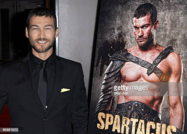 Actor Andy Whitfield attends the Spartacus Blood and Sand New York premiere at the Tribeca Grand Screening Room on January 19 2010 in New York City