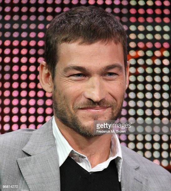 """Actor Andy Whitfield of the television show """"Spartacus: Blood and Sand"""" speaks during the Starz Network portion of The 2010 Winter TCA Press Tour at..."""