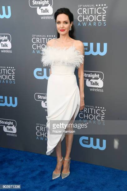 Actor Angelina Jolie attends The 23rd Annual Critics' Choice Awards at Barker Hangar on January 11 2018 in Santa Monica California