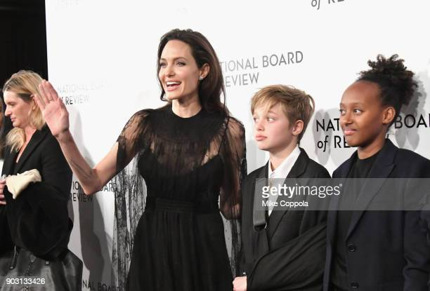Actor Angelina Jolie Knox Leon JoliePitt and Zahara Marley JoliePitt attend the 2018 The National Board Of Review Annual Awards Gala at Cipriani 42nd...